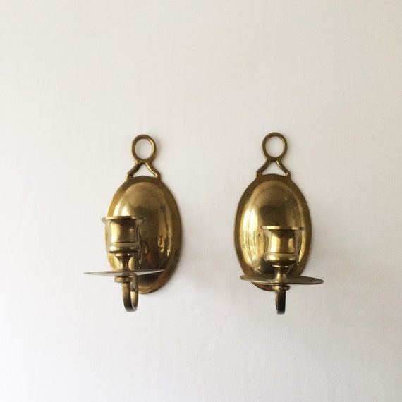 Vintage Solid Brass Candle Sconces Oval Wall Candle Sconces