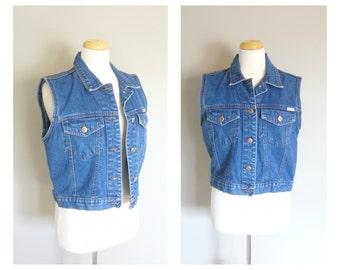 Vintage BILL BLASS DENIM Vest/Designer/1980s Jean Vest/size Medium-Large