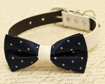 Navy dog bow tie, Bow attached to dog collar, Navy and white wedding accessory, Dog birthday gift, Polka dots bow,some thing blue,dog lovers