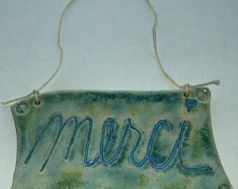 Merci Blue Green Gift For Her Pretty Multi Glazed Wall Hanger