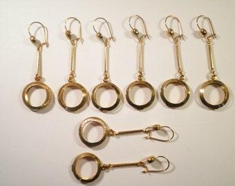 4 Prs. of Goldplated Hoop Dangle Drop Earrings