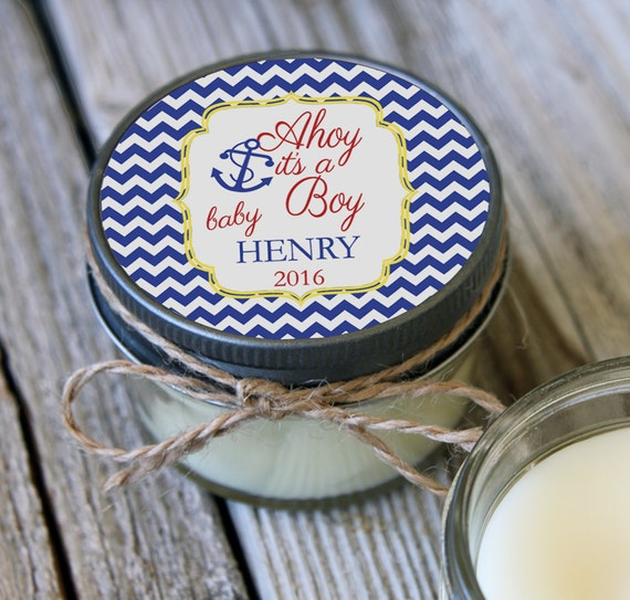Set of 12 - 4 oz Baby Shower Favor Candle- Personalized Baby Shower Favors // Ahoy its a Boy// Favors