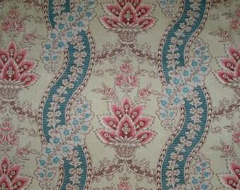 KRAVET LAURA ASHLEY French Country Portico Toile Fabric 30 Yard Bolt Crystal Rose Aqua Teal