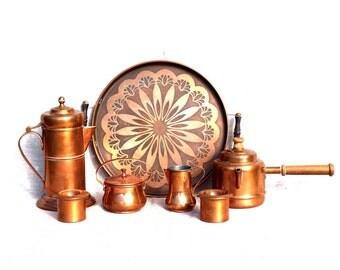 Copper tray Copper coffee tea set Copper kitchen decor Antique solid copper Copperware Estonia 60s Copper dish Copper ibrik Copper home