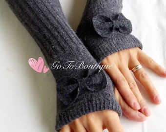 Charcoal Wool Arm Warmers- Fingerless Gloves-Knit Gloves-Dark Grey Bow Gloves.