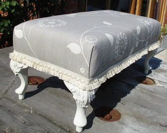 Shabby Chic Oblong Footstool - Vintage Materials