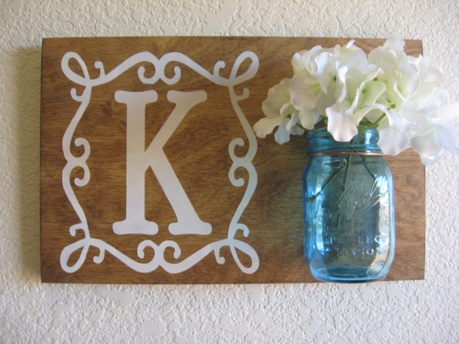 Wall Decor With Mason Jars : Mason jar wall decor monogram sign