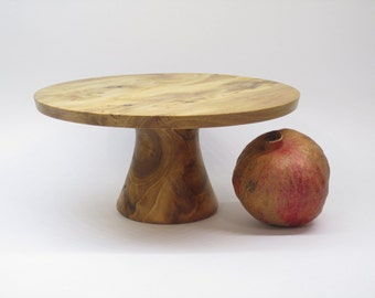 Wood Plate: Hand Turned Wooden Cake Plate/Cheese Stand of Elm Wood