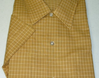 NOS / 1960s Shirt / XXL / 2XL / Tall / Checked Shirt / New Old Stock / Deadstock / Vintage 1960s Menswear / Permanent Press / 1970s Shirt