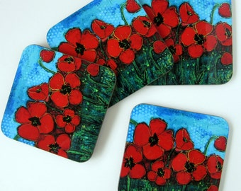 Red Poppies Drink Coasters - Cup Coasters - Floral Home Decor