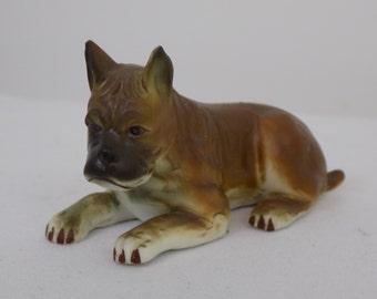 Adorable Bisque Porcelain Hand Painted Boxer Lying DownFigurine Statue - Vintage Antique Collectible Brown Body Black Muzzle Dog Terrier