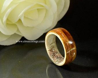 Deer antler Oak wood wedding band copper Shellac inlay