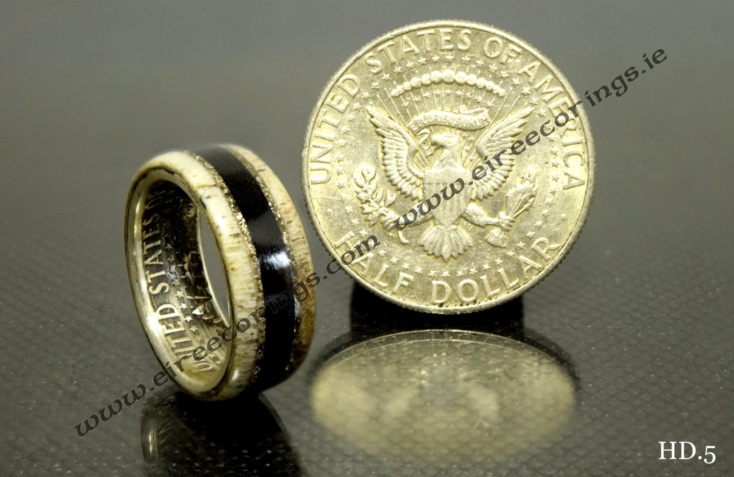 Wood wedding rings with USA half dollar and 5000 by EireEcoRings