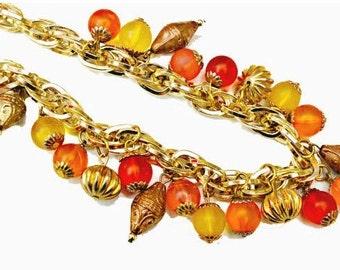 Lucite Bead Necklace tutti fruiti colorful  orange yellow gold bead necklace