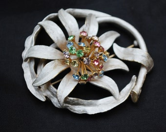 Enamel flower Brooch - white enamel on gold -  colorful rhinestones -Floral  pin