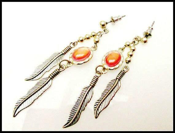 Sterling peach agate earrings WM Co Native American pierced dangle