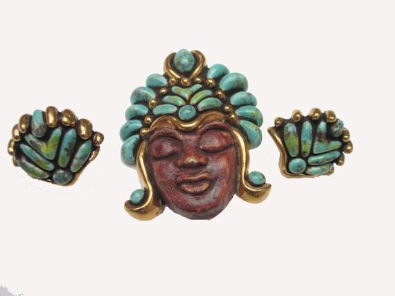 Boho Ceramic tribal face brooch and earring set