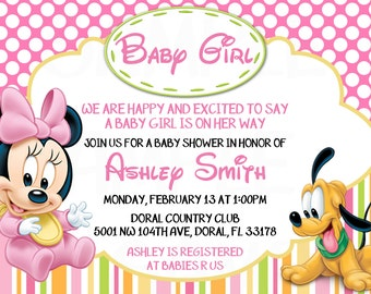 Disney Baby Minnie Mouse Inspired Baby Shower or Birthday Printable Invitation -DIY
