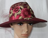 Handmade Ladies Burgandy Fedora Dress/Church Hat