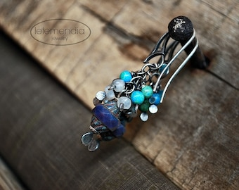 Cluster Earrings Lavender and Turquoise Silver Boho Moonstone Gemstone Earrings by Letemendia Jewelry Handmade
