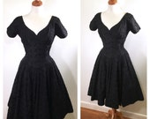 Vintage 1960s Black Cocktail Dress Embroidered Midi Evening Dress Fit and Flare Full Skirt Party Dress Wedding Guest Dress Dance Dress
