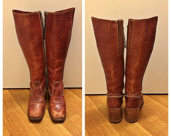 Size 7 1/2 Brown Leather Boots Vintage 1970s Tall Stacked Heel Women's Western Boot Knee High Boots Braided Leather 70s Boots