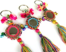 BOHO Tassel Mirror Keychain Camel Swag Indian Mirror Decoration Rajasthan Camel Mirror Decoration with Cotton Tassels Beadwork and Bells
