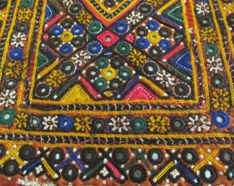 Vintage Gypsy Banjara Fabric Kutchi Fabric Mirrorwork Vintage Indian Textile Craft Supply Decor Supply Handcrafted Textile Wall hanging  KU1