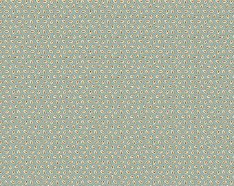 Giggleswick Mill Leaves Blue/Grey Fabric by Andover
