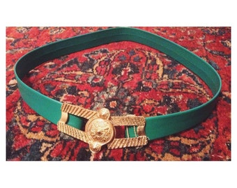 Vintage 1960s Etruscan bold green belt with large gold buckle