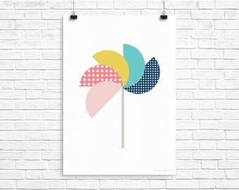 Printable Pinwheel Art Print - Bright A4 - Digital Download