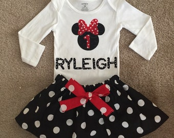 Minnie Mouse outfit princess Dress pink first 1st Birthday personalized name bodysuit Disney shirt baby Girl Size 3 6 9 12 18 24m 3T 4T 5