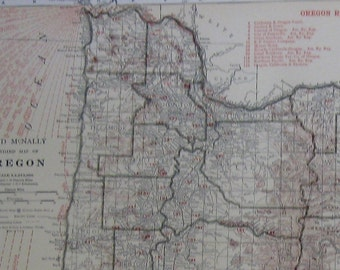 RARE Oregon Map of Oregon with RAILROADS 1927 Antique Map  Vintage 1920s Atlas Map  Plaindealing 6867