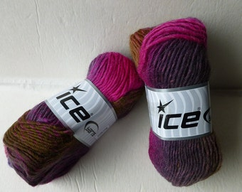 Sale Browns Teal and Fuchsia Marvelous Pure Wool by Ice