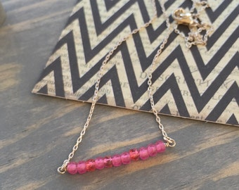 beaded bar necklace, beaded choker, pink sterling silver, petite beaded necklace, pink beaded, layering minimalist necklace, summer necklace