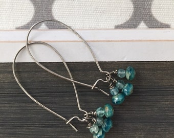 beaded cluster earrings, aqua silver earrings, aqua teal blue beaded, minimalist beaded earrings