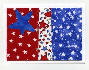 Patriotic Fabric Note Card