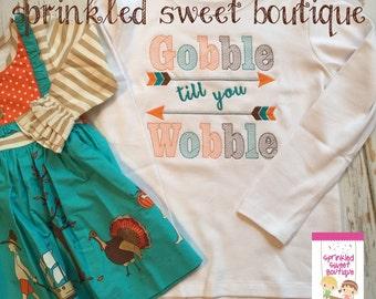 Thanksgiving Gobble Til You Wobble  Arrow Shirt Custom Applique Turkey Made to Match m2m Eleanor  Rose Thanksgiving Parade