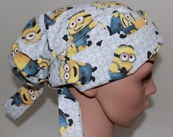 Minions, Gray, Scrub Hat, Tie Back Pleated Scrub Cap with band, Or Nurses, Women's Surgical Scrub Hat