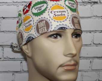 Bottle Tops,Men's Surgical Scrub Cap.Chemo Caps, Doctor's Scrub Hat,Biker's Cap, Vet,Tech