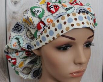 Bottle Caps,Bouffant Women's Scrub Hat, Surgical Scrub Hat, Scrub Cap, OR Nurses Hat