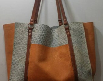 Soft Slouchy Leather Tote Faux Croc and Vegetable Tan Large Bag Summer Handmade in USA