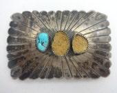 J. W. Toadlena Turquoise Silver Belt Buckle