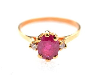 A Pink Sapphire, Diamond, 14k Yellow Gold VINTAGE Estate Gemstone Beautiful