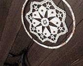 Bohemian dream catcher, crochet dreamcatcher, doily, wall hanging, woodland, bedroom, cream, black, home decor, handmade, beaded, medium