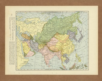 Vintage map of Asia from 1943 Antique 1940s
