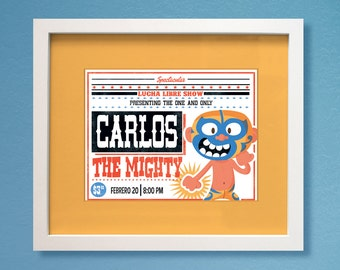 Lucha Libre Nursery Decor Wrestling Bedroom Art 8 x 10 Boys Personalized Customized Print.