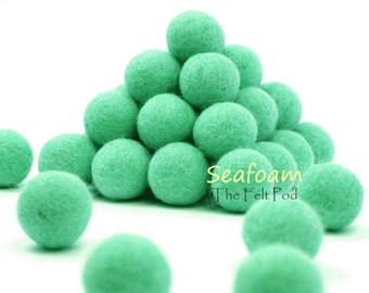 Felt Balls // DIY Garland // DIY Mobile // diy Necklace // Felt Poms // Wool Beads // SEAFOAM // 1 cm 1.5 cm 2 cm 2.5 cm 3 cm 4 cm