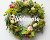 Easter wreath, spring wreath for front door, spring decorations, moss wreath door decor