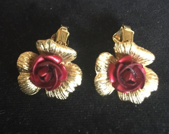 Rose clip on earings